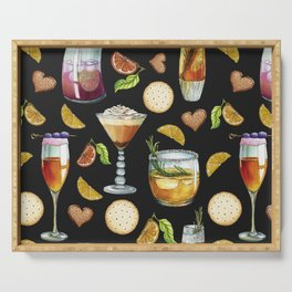 Cocktail and Biscuit Pattern Black Background Serving Tray