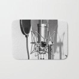 Microphone black and white Bath Mat