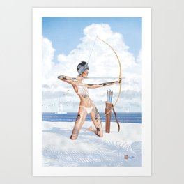 Summer Archer Blue Art Print