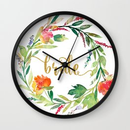 Bride Gold Typography Flowers Wreath Wall Clock