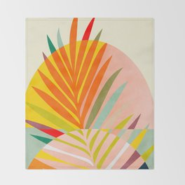 minimal leave tropical spring Throw Blanket