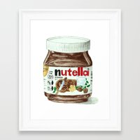 nutella Framed Art Prints featuring Nutella by Owl Feather Studio