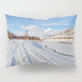 winter panorama of the village Pillow Sham