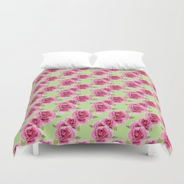 Watercolour Roses Green BG Duvet Cover