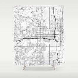 Lansing Map, USA - Black and White Shower Curtain