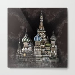 Saint Basil's Cathedral - red sky, Moscow, Russia Metal Print