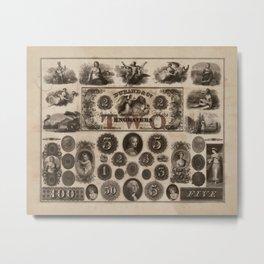 Vintage Currency Vignettes Metal Print