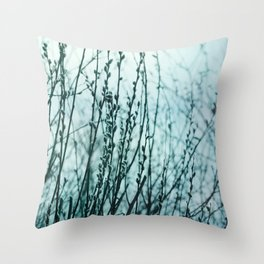 Teal Pussy Willows Dreamy Botanical Throw Pillow