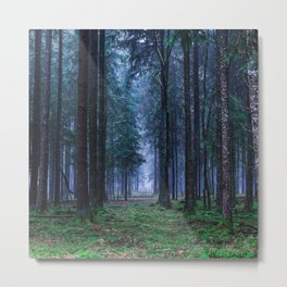 Green Magic Forest Metal Print