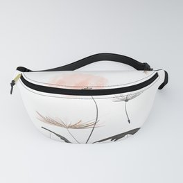 Sweet dandelions in pink - Flower watercolor illustration with glitter Fanny Pack