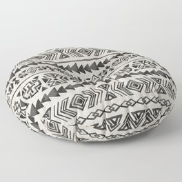 Boho Tribal Black & Cream, Geometric Print, Ink Tribal Decor Floor Pillow