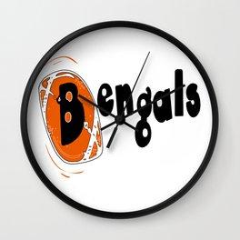 Bengals Fancy Football Font Wall Clock