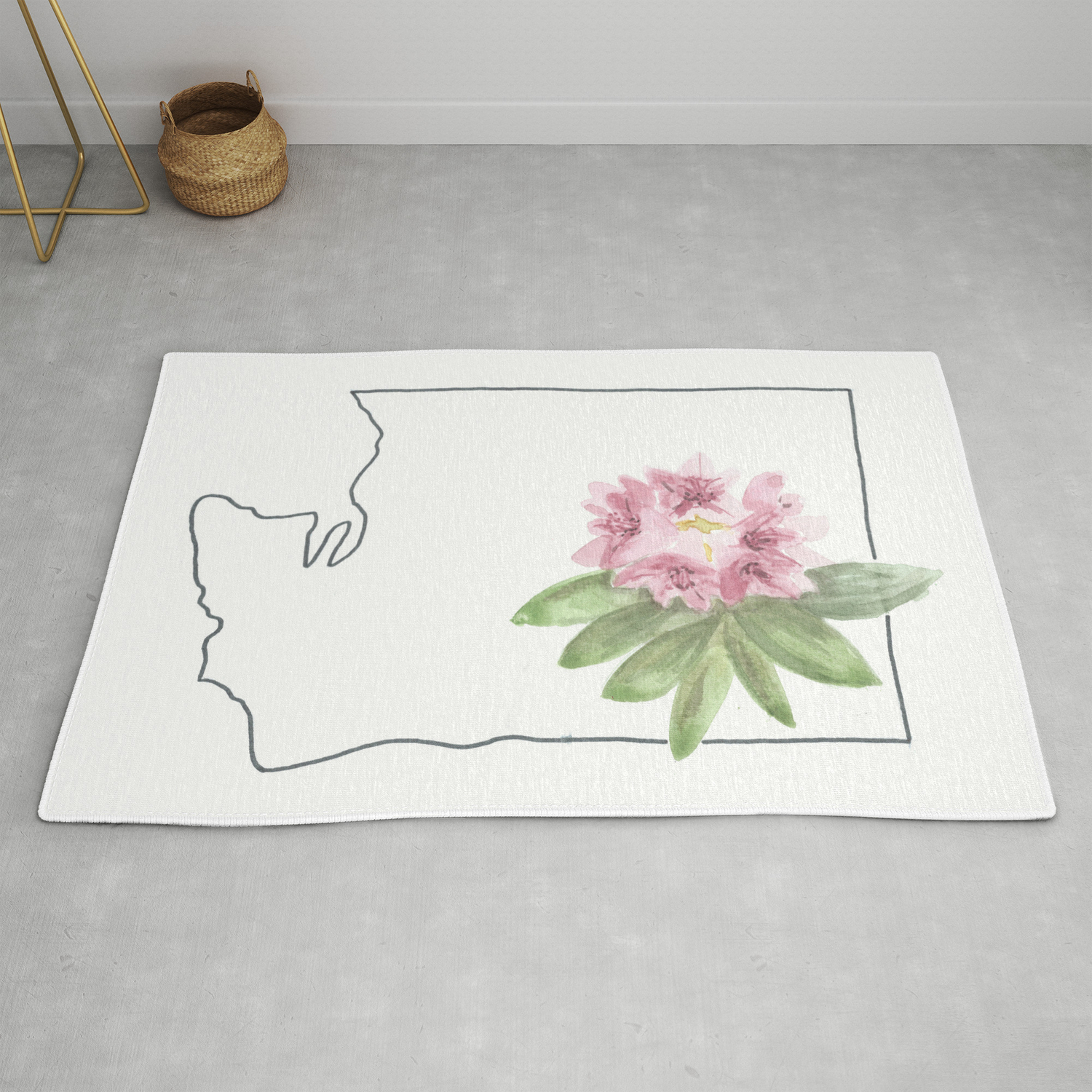 Washington Watercolor Rhododendron State Flower Map Rug By Ashymd Society6