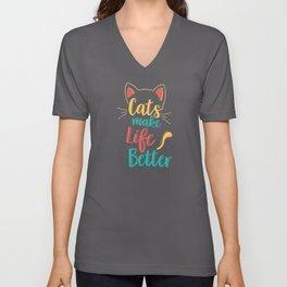 Cats Make Life Better Cat Lovers Unisex V-Neck