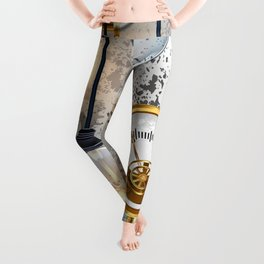 Steampunk Industrial Background with Manometer and Electric Lamp Leggings