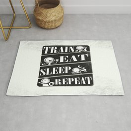 Train eat sleep repeat Inspirational Fitness Quote Design Rug