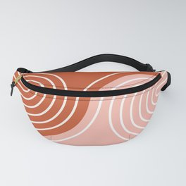 Geometric Lines in Terracotta Rose Gold 19 (Rainbow and Lines Abstraction) Fanny Pack