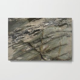 Sea Weathered Rock Texture with Sand Metal Print
