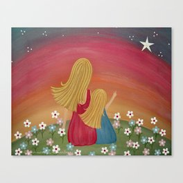 Wishing Star - Mother & Daughter Kids Art Canvas Print