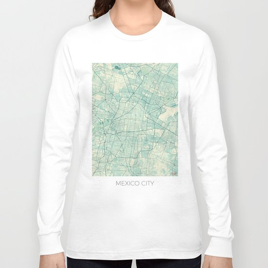 Mexico City Map Blue Vintage Long Sleeve T-shirt