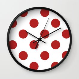 Large Polka Dots - Firebrick Red on White Wall Clock