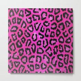 Fuchsia pink black leopard animal print gradient pattern Metal Print