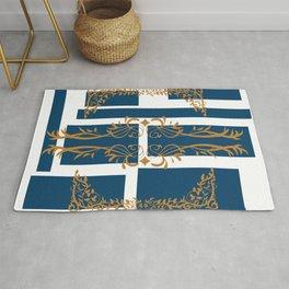 Contemporary dark blue squares gold brown flourish elements Rug