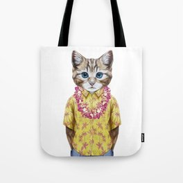 Portrait of Cat in summer shirt with Hawaiian Lei. Tote Bag