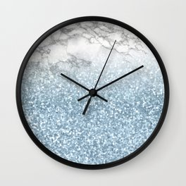 She Sparkles - Turquoise Teal Glitter Marble Wall Clock
