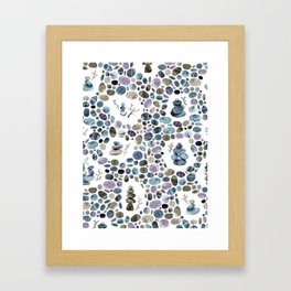 Wishing stones and cairns Framed Art Print