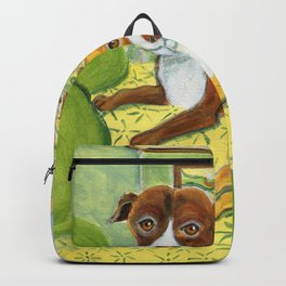 Pitbulls on patterned sheets Backpack