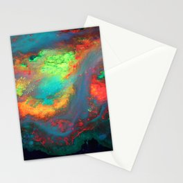 """Titan"" Mixed media color on canvas, abstract painting red blue green yellow contemporary art Stationery Cards"