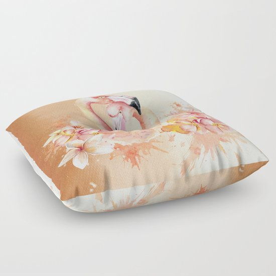 Exotic Floor Pillows : Tropical birds- Flamingo in LOVE with exotic flowers on #Society6 Floor Pillow by Better HOME ...