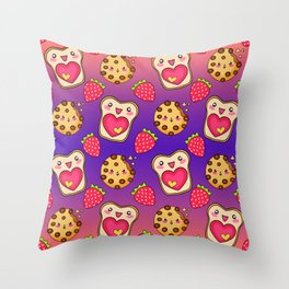 Cute funny sweet adorable happy Kawaii toast with raspberry jam and butter, chocolate chip cookies, red ripe summer strawberries cartoon fantasy purple orange pattern design Throw Pillow