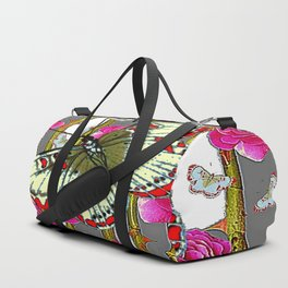 ORIENTAL STYLE BUTTERFLY & PINK ROSES GREY PATTERN DESIGN Duffle Bag