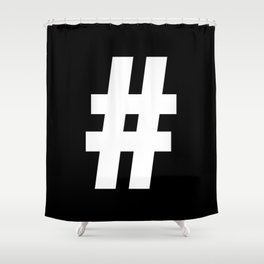 Hash Sign (White & Black) Shower Curtain