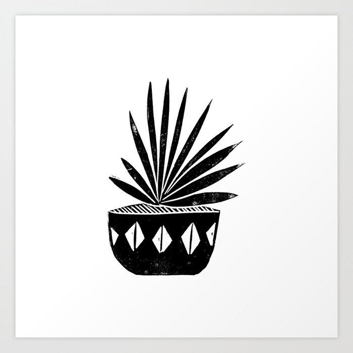 Aloe houseplant linocut lino print black and white minimal modern office home dorm college decor Kunstdrucke