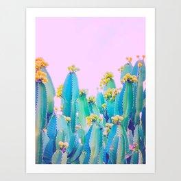 Cactus Bloom - Aqua, blue and pink Art Print