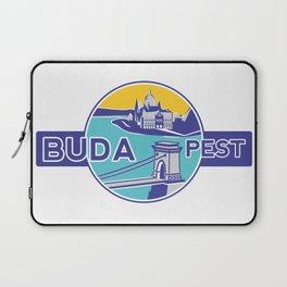 Budapest, Chain Bridge, sticker, blue, yellow Laptop Sleeve