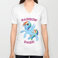 mlp V-neck T-shirts featuring MLP FiM: Rainbow Dash by Yiji