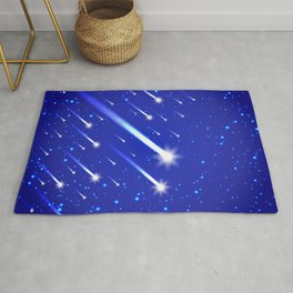 Space background with stars and comets Rug
