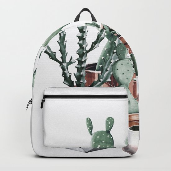 Potted Cacti + Succulents Rose Gold Backpack