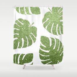Glitter Monstera Leaves Shower Curtain