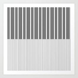 The Piano Black and White Keyboard Art Print