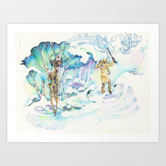 apache deer Art Print