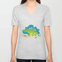 Stegosaurus dino illustration Unisex V-Neck