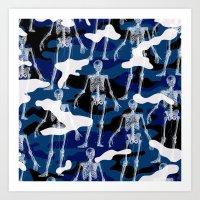 skeleton Art Prints featuring SKELETON by DIVIDUS