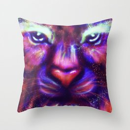 Fantasy lion face made of stars and colorful clouds Throw Pillow