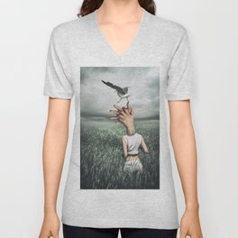 Love and freedom - surreal hands Unisex V-Neck