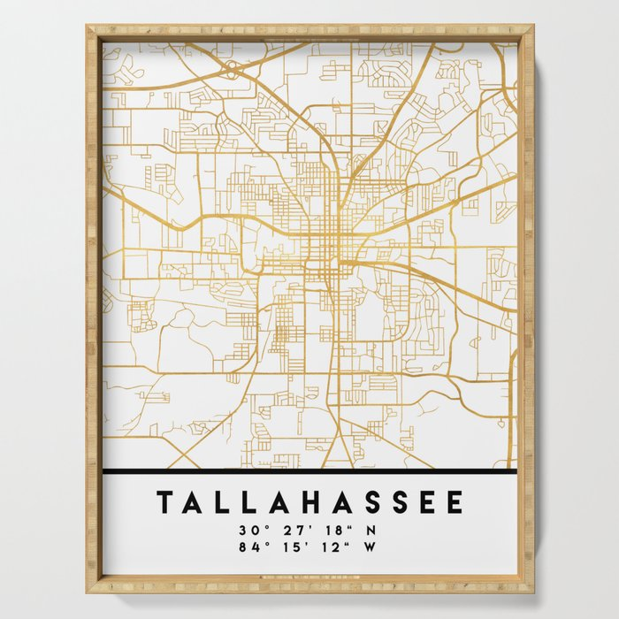 TALLAHASSEE FLORIDA CITY STREET MAP ART Serving Tray by deificusart